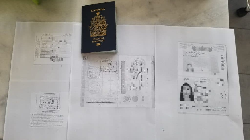 photocopies of passport - main page thai visa and departure card - front and back