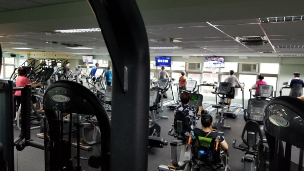 working out at datong sports center newly renovated fitness center