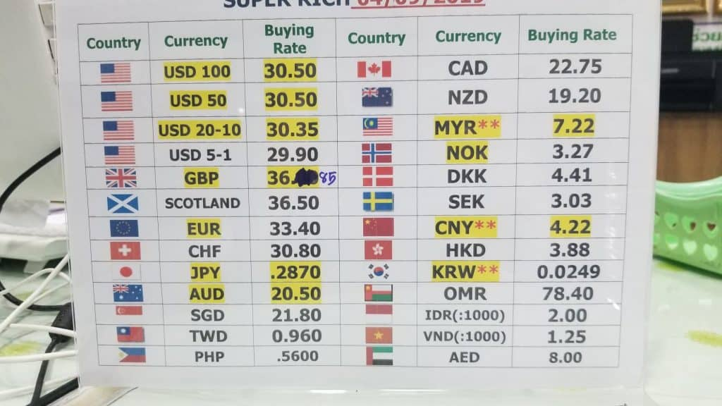 Oct 2019 Exchange Rate at Super Rich