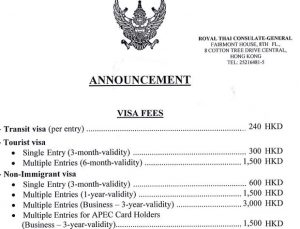 Thai Consulate in Hong Kong - Visa fees
