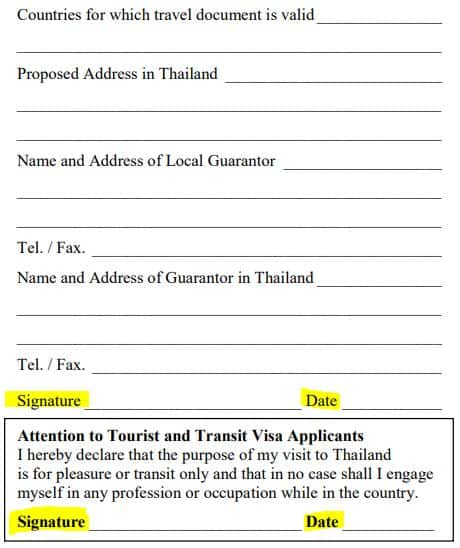 thai 60 day tourist visa application form