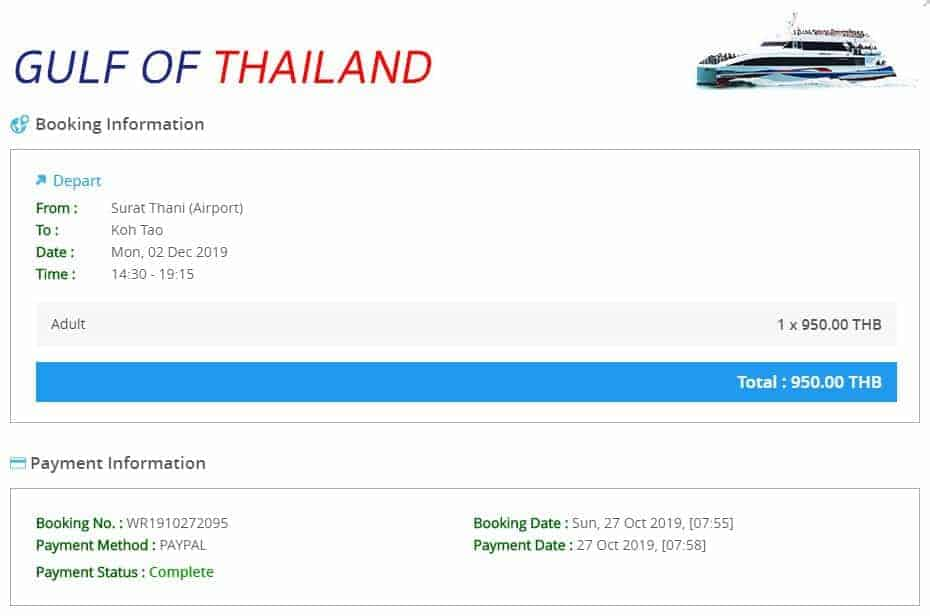 Lomprayah Direct Ferry 950 baht